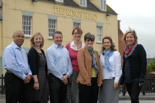 (l-r) Noel Dingwall, manager of the King's Head pub, Tracey Adams of the Flexible Resource Company, Mark Griffiths and Roberta Smart, of Arete Life Coaching, and clients Amy Williams, Alex Milner and Beth Hughes