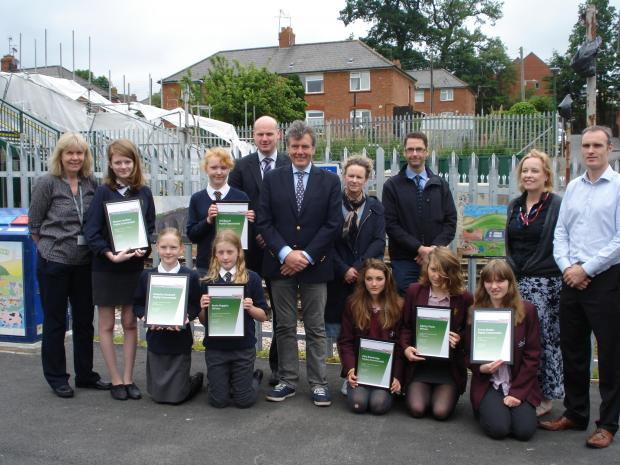 Archway and Stroud High School pupils presented prizes for artwork at new railway bridge