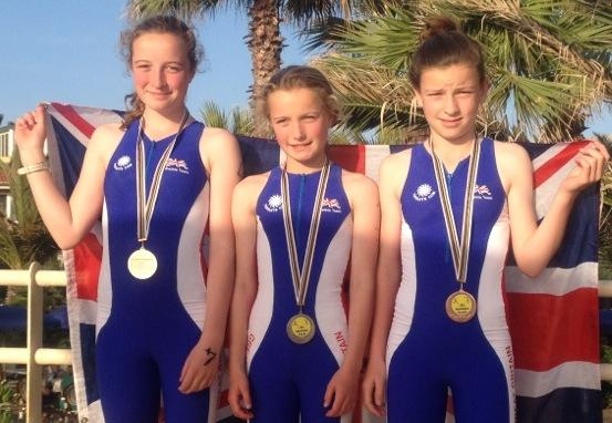 Stroud News and Journal: Medal winners (from left) Isla Green 13, Evie Green 11, Emma Livingstone 13, from Wycliffe Preparatory School