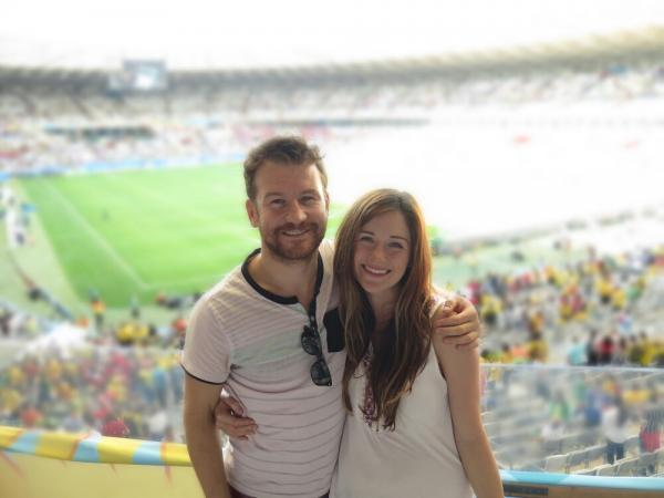 James Davis and girlfriend Charlie Boyd at England's match against Costa Rica at the Belo Horizonte stadium