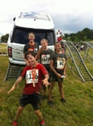 Matthew, 11, with (l-r) friends Thea Dyer, Tamsin Peters and sister Nicki George