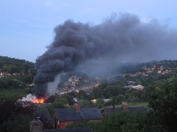 The fire could be seen for miles around the London Road site