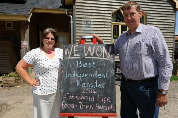 Horsley Community Shop has been named Best Independent Retailer in the Cotswold Life Food and Drink Awards. Pictured are part-time manager Jo Lawson and shareholder and chairman of the management commitee Alan Caudwell