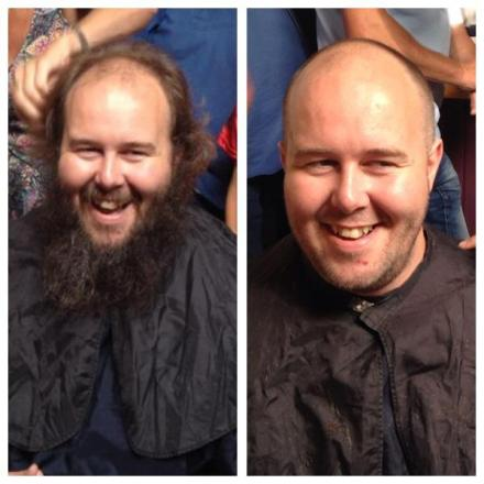 Craig Walters before and after shaving off a year's worth of hair