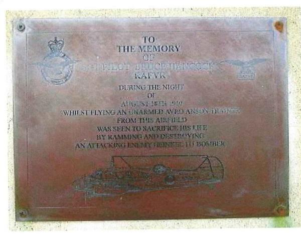 Plaque honouring heroic WW2 pilot who died after ramming German bomber with aircraft is stolen