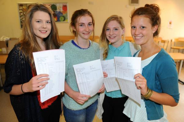 (l-r) Stroud High pupils Megan Knowles, Hester Chapman, Freya May and Poppy Powell who are all 16, with their GCSE results