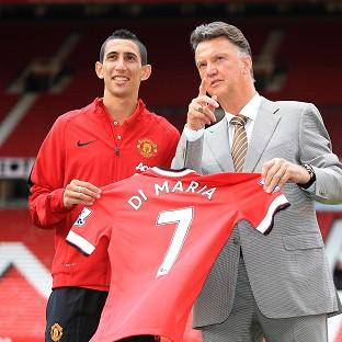 Angel di Maria, left, was unveiled at Old Trafford alongside Lo