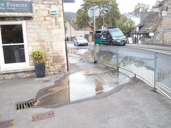Minor flooding in Nailsworth town centre. Picture from @nailsworthtown and www.nailsworthtown.com