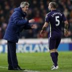 Stroud News and Journal: Pablo Zabaleta, right, does not think it is fair to blame manager Manuel Pellegrini for all Manchester City's failings