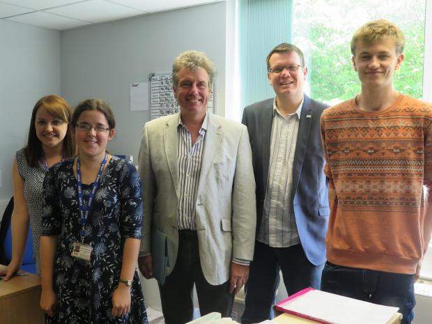 MP Neil Carmichael with Barry Voyce, Anne Townsend, Lizzie Hewlett and Harry Gardner