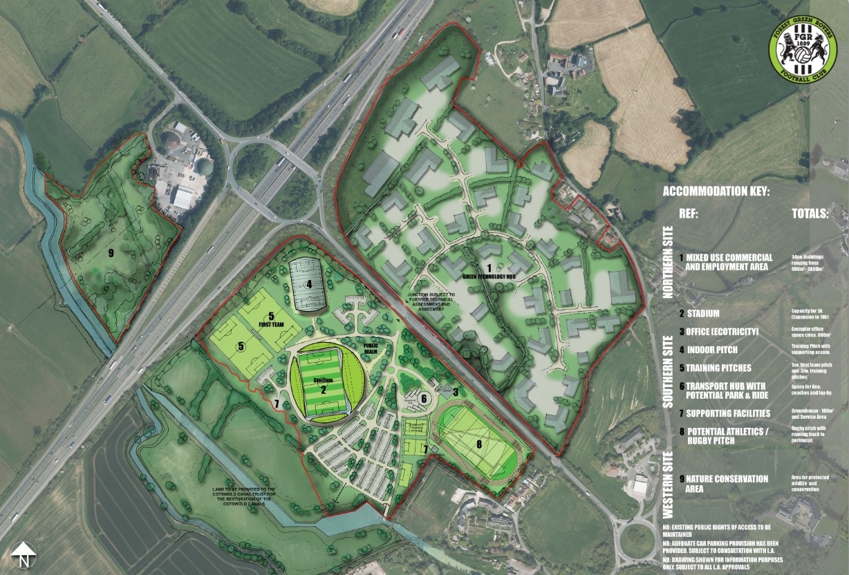 The proposed Eco Park development is a massive 100 acre state-of-the-arts sports and green business hub located beside Junction 13 of the M5 near Eastington