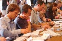 Votes being counted at Stroud Subscription Rooms