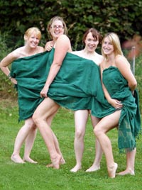 Among those stripping off were (l-r) Liz Weafer, Kara Westerman-Childs, Abby Ferkin and Sarah Standing