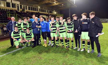 Forest Green Rovers lift the Gloucestershire Senior Cup at The New Lawn            Pic: Bruce Fenn:
