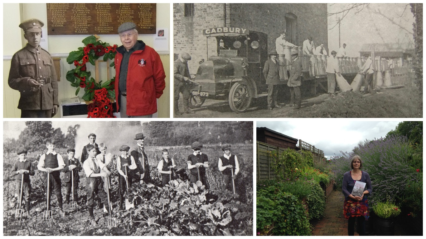 Top left; Derrick Millard with a life size cut-out of his father John who served in WWI, top right: A Cadbury's lorry outside the newly opened factory in 1916, bottom left; Author Rose Hewlett, bottom right; Pupils and teachers at the National school 19