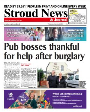 Stroud News and Journal: This week's front page – New managers at Prince of Wales in Stroud thank community for help…
