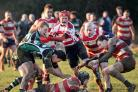 Action between Painswick RFC (red and white hoops) and Minchinhampton. Pics: Simon Pizzey