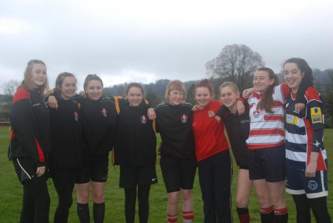 Painswick RFC girls, left to right, Jemma Gardner, Jude Dowdswell, Ellie Beech, Imogen Dowdswell, Flo Cross, Ellie Bailey, Alice Attwell, Aimee Parsons and Rosie Grist