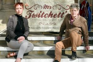 Former Sub Rooms marketing consultant Sarah Phaedre Watson and town councillor Lucas Schoemaker outside Mr Twitchett's