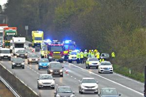 The woman's vehicle crashed on the northbound carriageway close to Michaelwood services at around 2.45pm