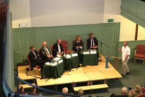 L-R: Lib Dem Andrew Gant, Ukip Chris Harlow, Tory Geoffrey Clifton-Brown, Green Sabrina Poole, Labour's Mark Huband and presenting Tom Wharin