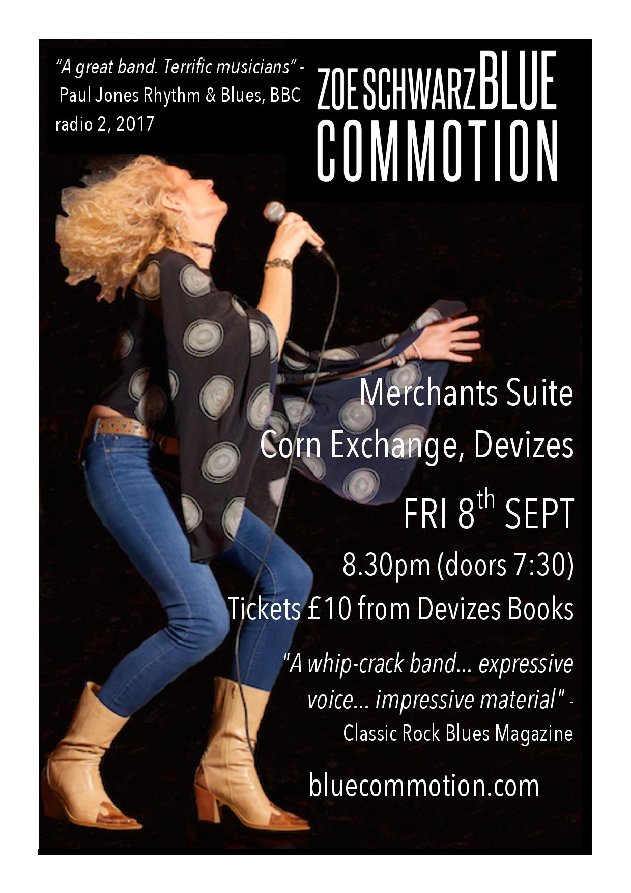 Zoe Schwarz Blue Commotion play at The Corn Exchange