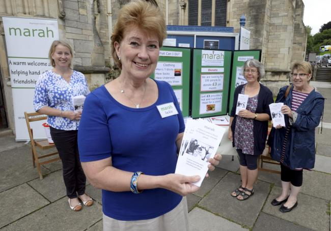 L-R Angela West, Jackie Natt, Janet Townsend and Glenis Massey manning the Marah stand outside St Laurence Church in Stroud on Saturday, August 19