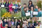 Clockwise from top left; The Stroud in Bloom team; Severn View Primary Academy's outdoor learning lead Adrienne Robertson with pupils Owen, Chelsea, Amelia, Kyra, Ryan and Tye; Stonehouse in Bloom members celebrate their award on The Green.