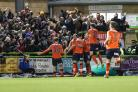 Danny Hylton celebrates after his goal made it 2-0 to Luton      Pic: Shane Healey/ Pro Sports Images