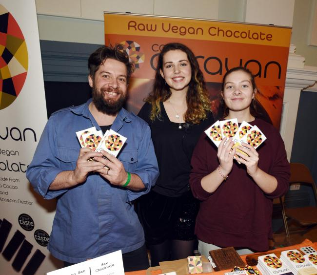 Exhibitors CocoCaravan a Stroud-based vegan chocolate company, with event organiser Daisy Botha