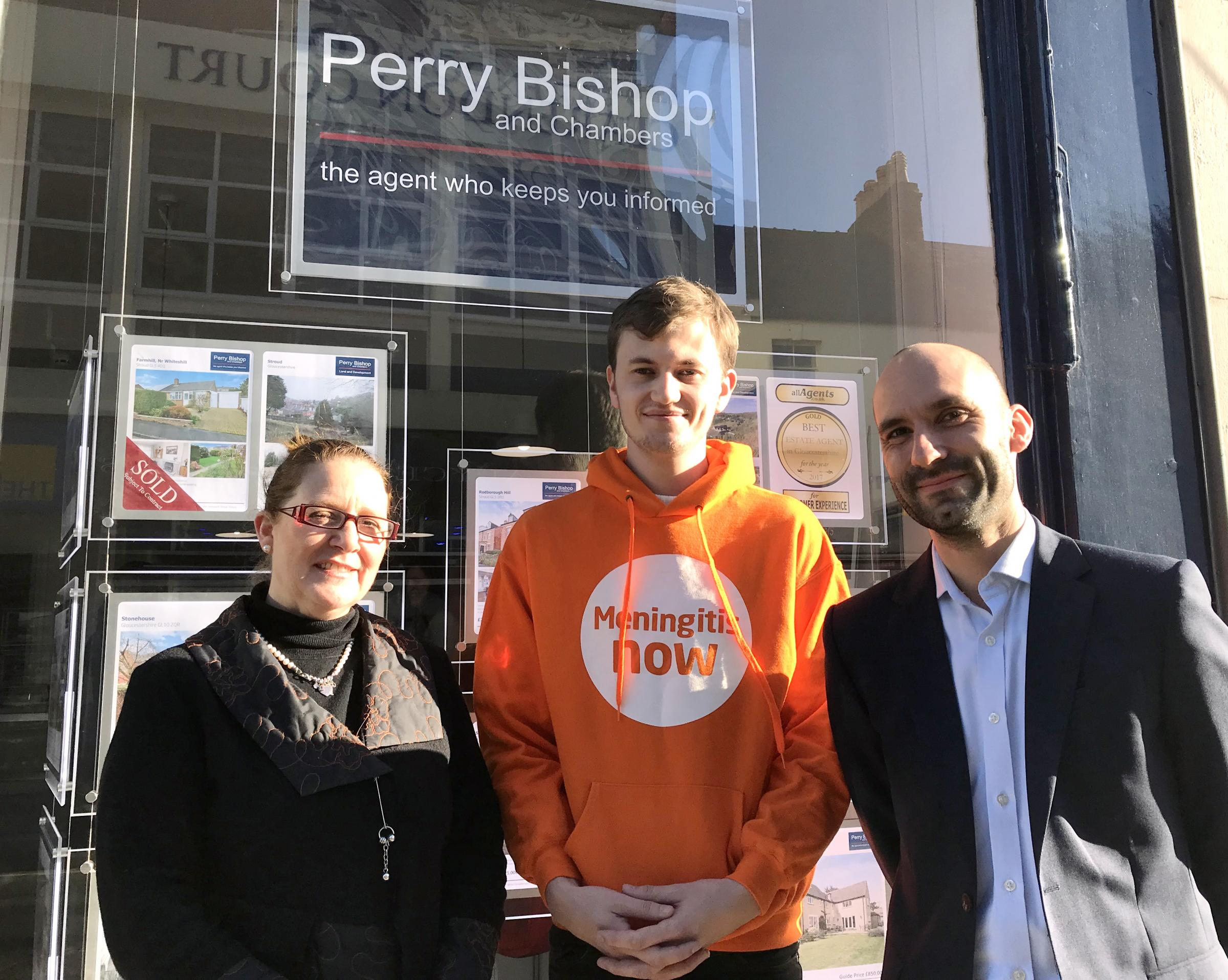 Perry Bishop and Chambers Stroud branch manager, Allison-Jayne Smith with Harry Gardner and Dr Tom Nutt from Meningitis Now