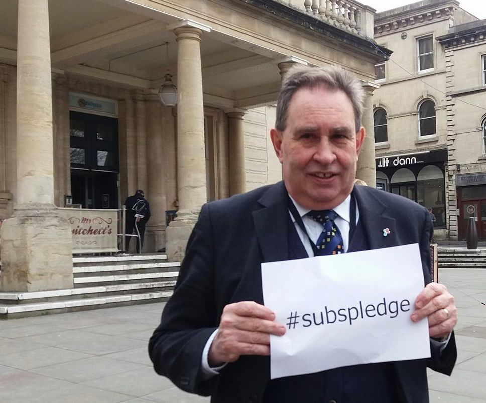 Stroud MP David Drew is backing a campaign to encouragepeople to pledge £100,000 towards improvements to the Sub Rooms