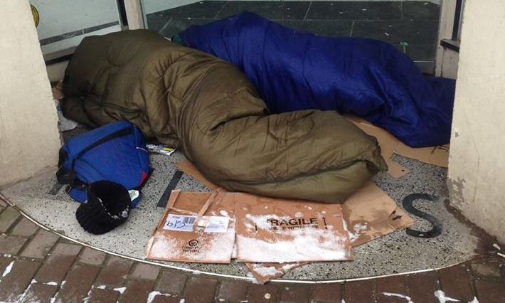 SNJ sports editor Ash Loveridge was upset when he saw two men sleeping rough in freezing conditions in Stroud and took this picture which shocked the community