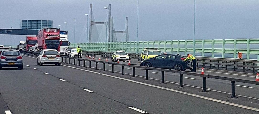 Traffic was held on the eastbound carriageway of the Second Severn Crossing after an accident earlier. Picture: Mark Hughes