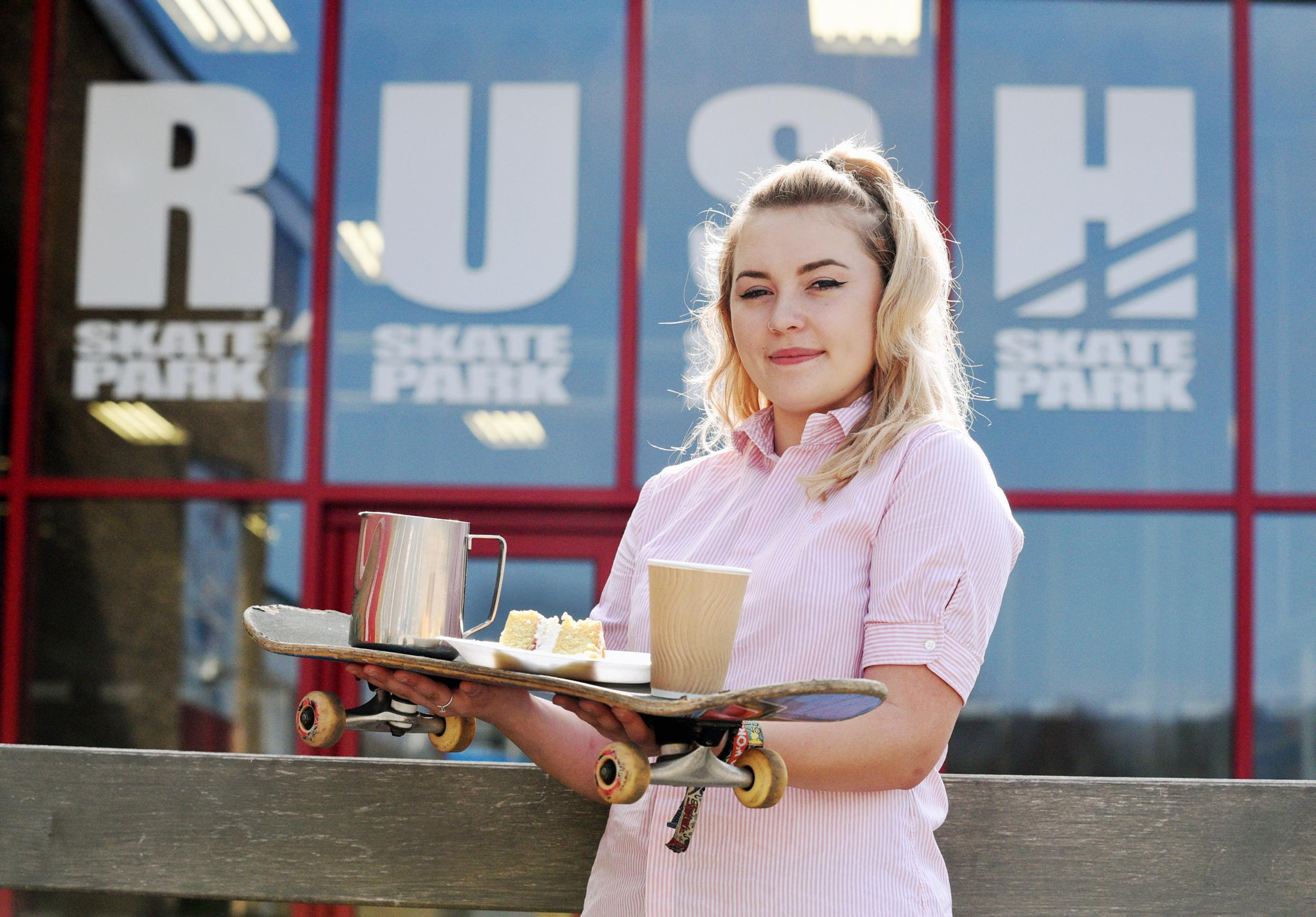 Elle Tripp is hosting a coffee morning at Rush Skatepark to raise money for prostate cancer. Photograph Simon Pizzey