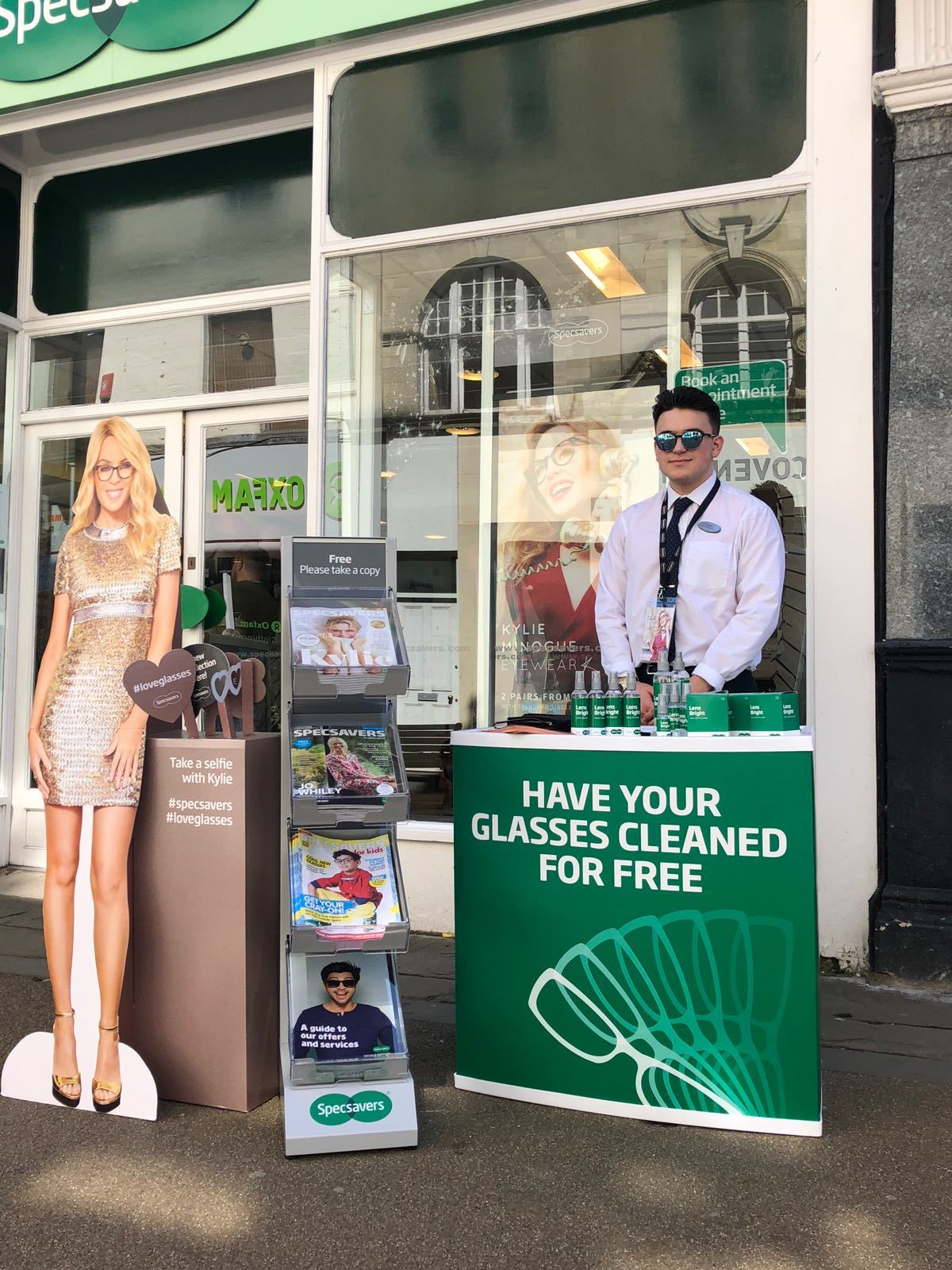 Specsavers are promoting new frames in their Kylie Minogue range