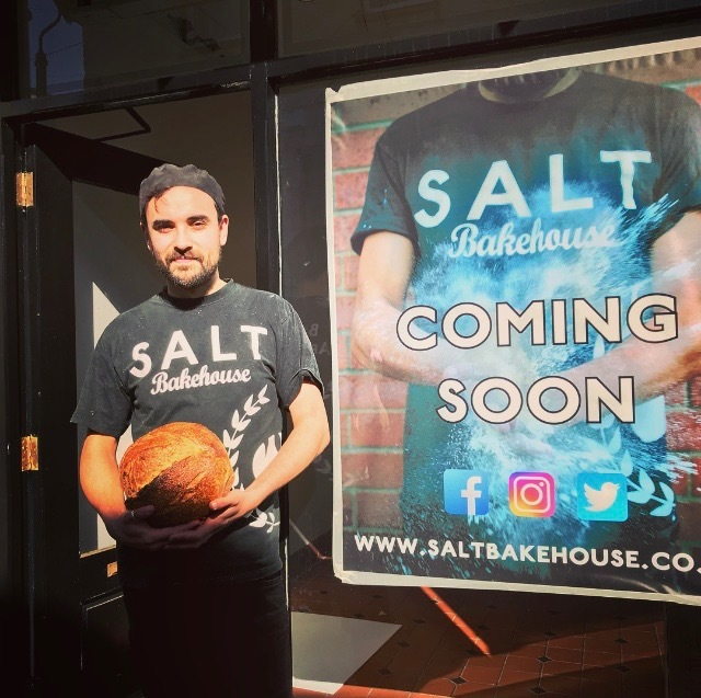 Dom Salter of Salt Bakehouse outside his new shop on Cornhill