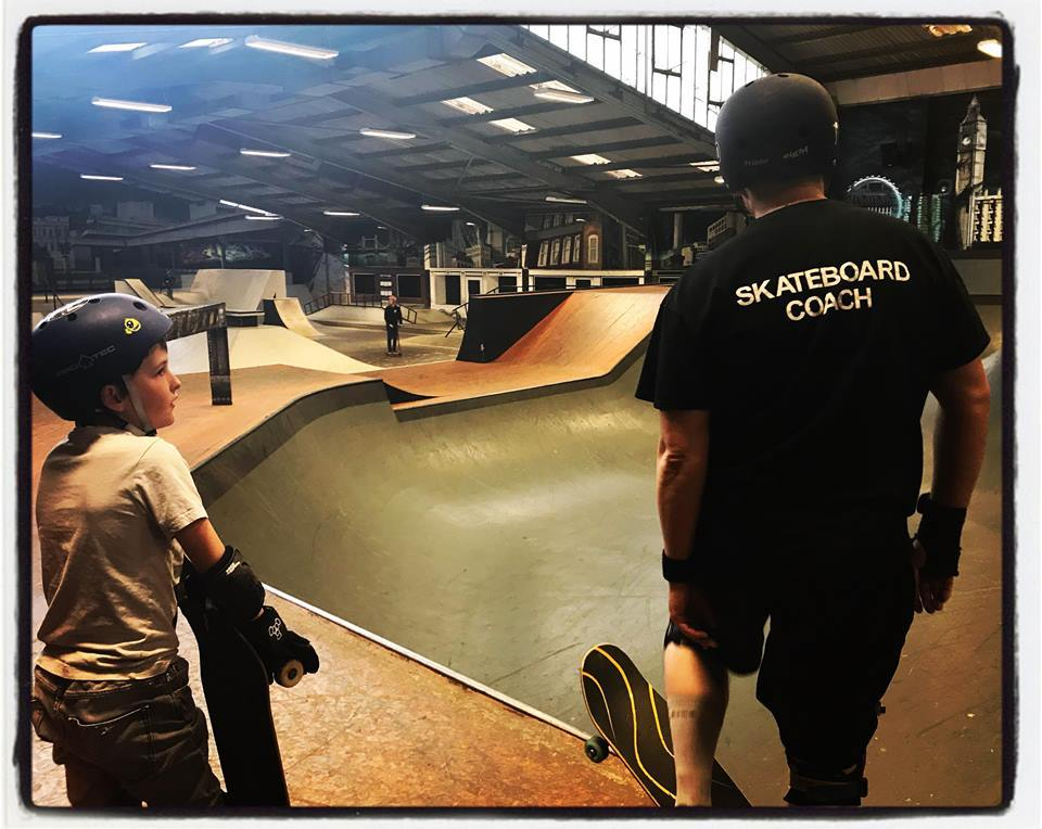 RUSH Skate Park instructor Brett with one of his students