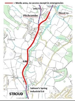 A46 Stroud to Pitchcombe to close for resurfacing