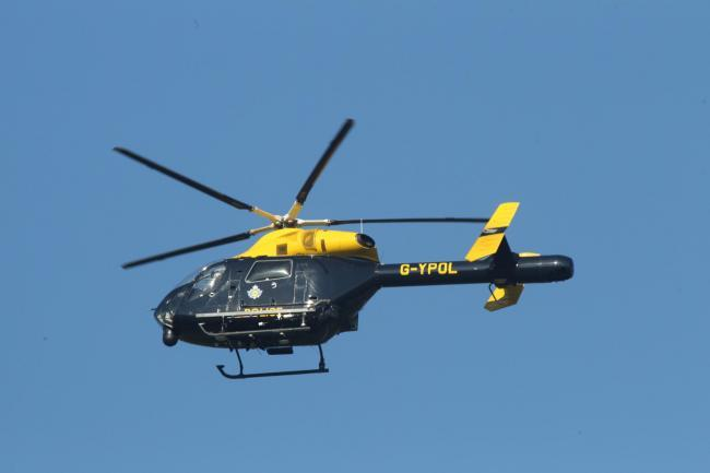 A police helicopter is currentyl circulatng Stroud town centre