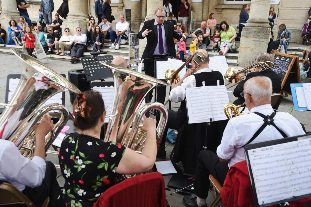 Stroud's big jazz band performing outside the Subrooms, photo Simon Pizzey