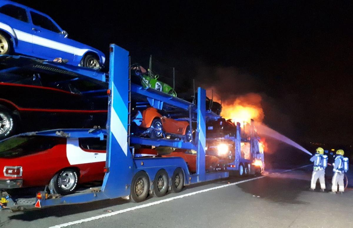 classic cars destroyed in m4 lorry fire near bath stroud news and