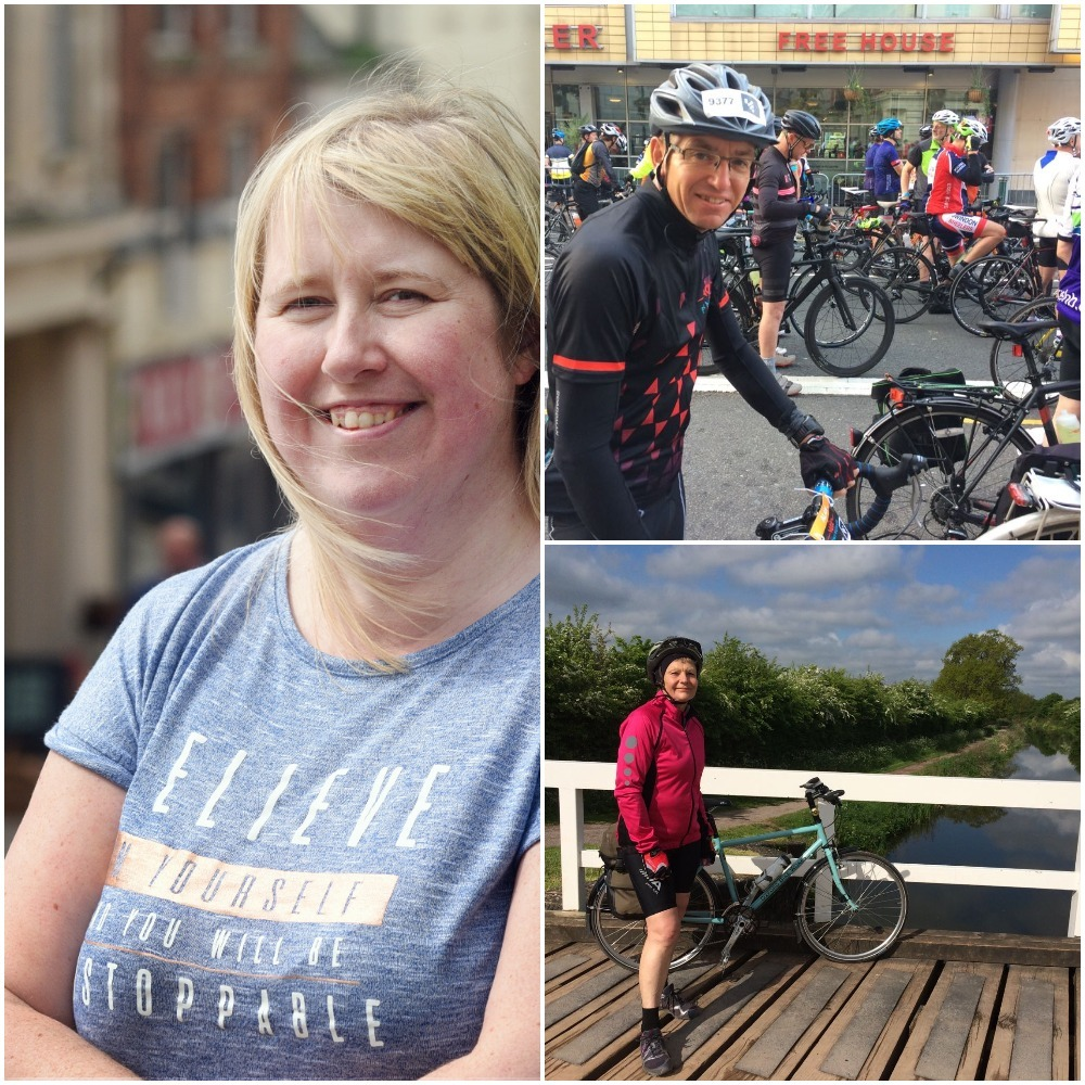 From left, clockwise: Jenny Harding and friends Alan and Marie who are cycling from Cannock to Stroud over the bank holiday weekend