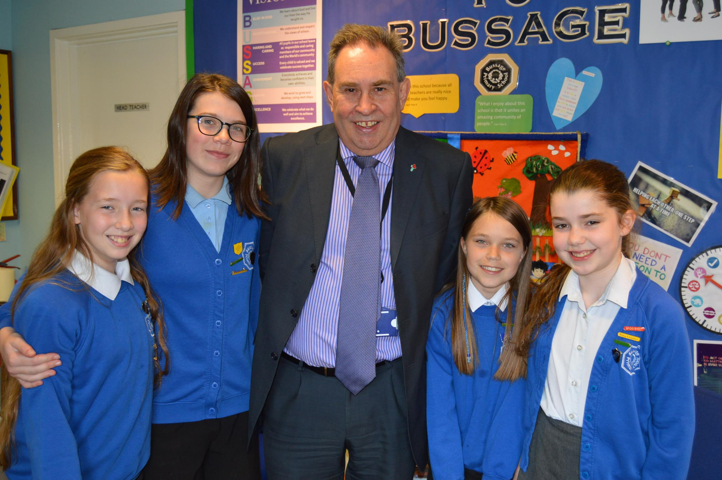 David Drew MP on a recent trip to Bussage Primary School, where he met pupils running a mock Parliament complete with Prime Minister and spoke with the head