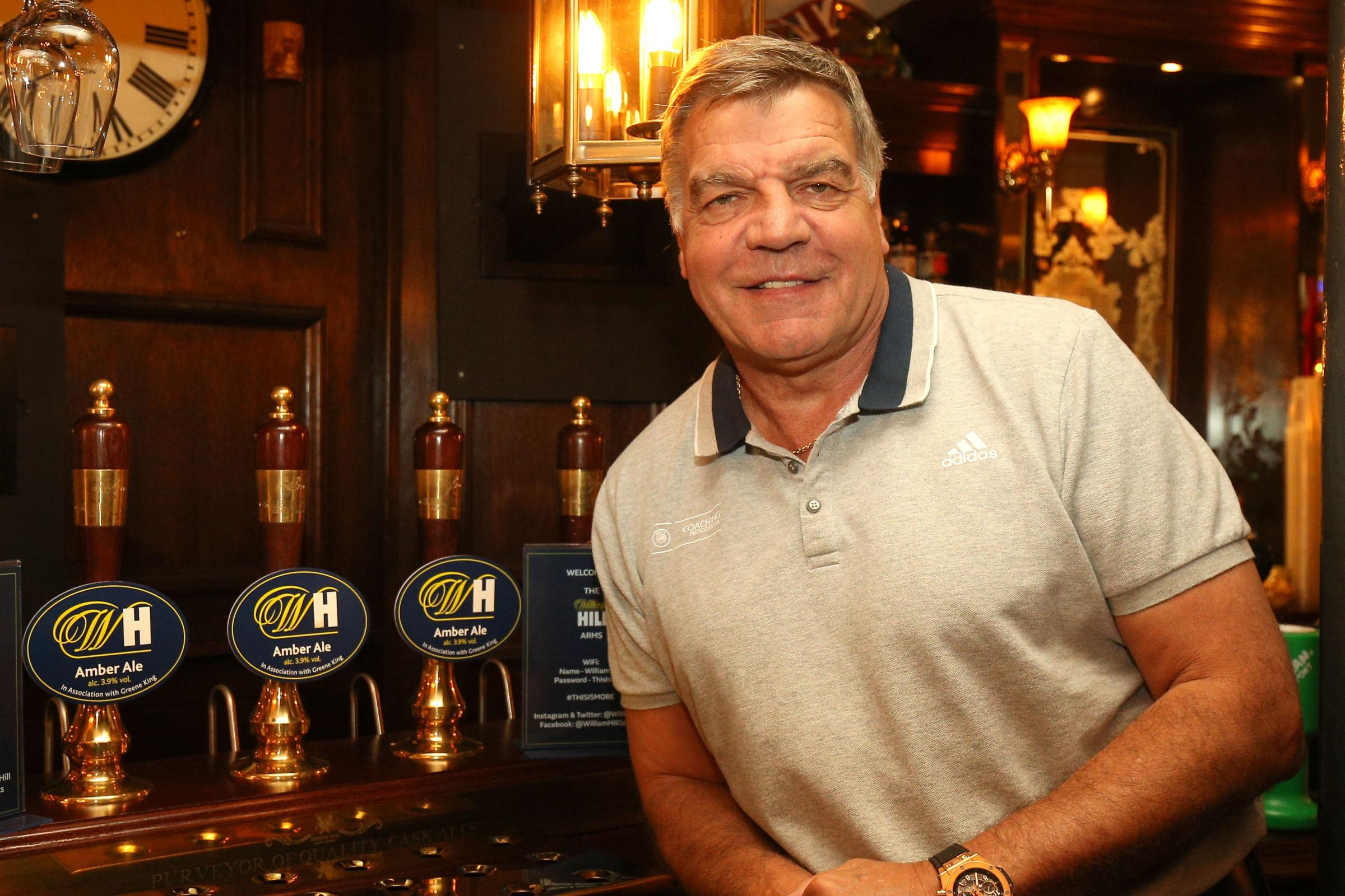 Sam Allardyce at the Lord Raglan pub in London