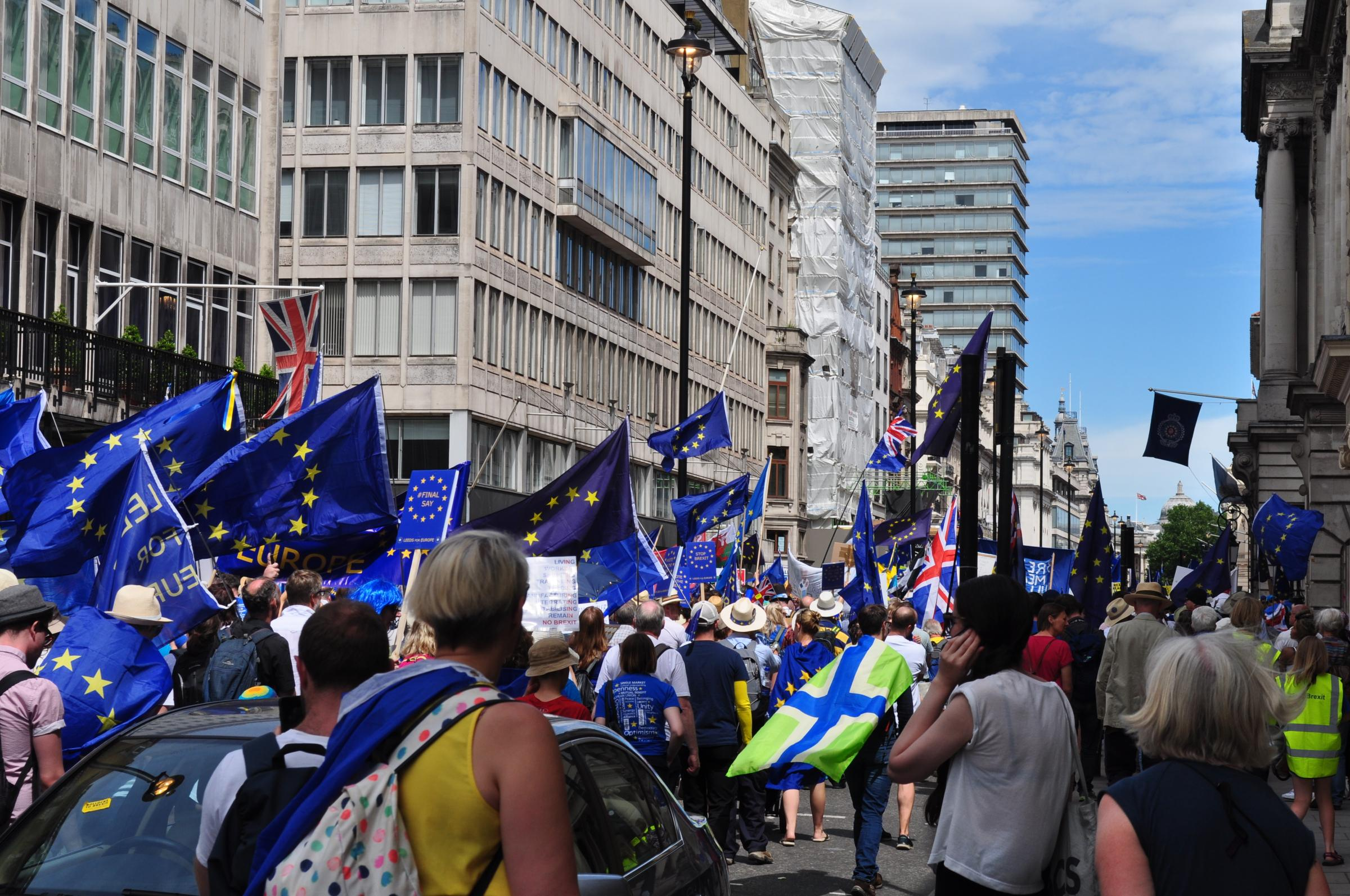 Activists grom a pro-EU Gloucestershire group on the People's Vote march earlier this summer