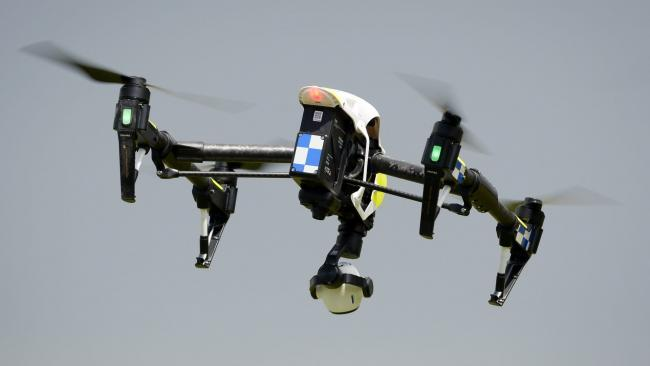A police drone in flight.