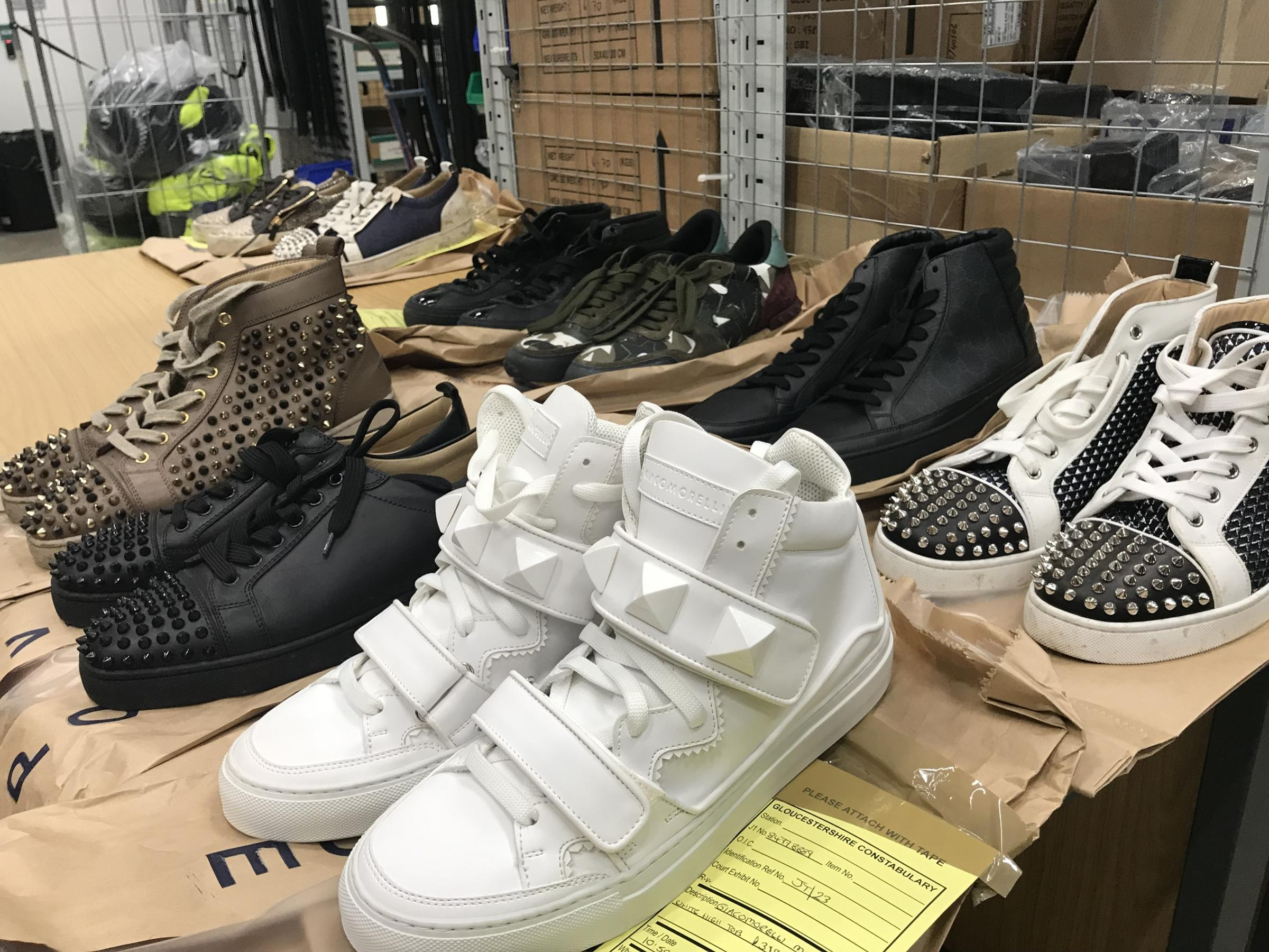 Haul of expensive trainers seized by police in Gloucester. Picture: Gloucestershire Constabulary