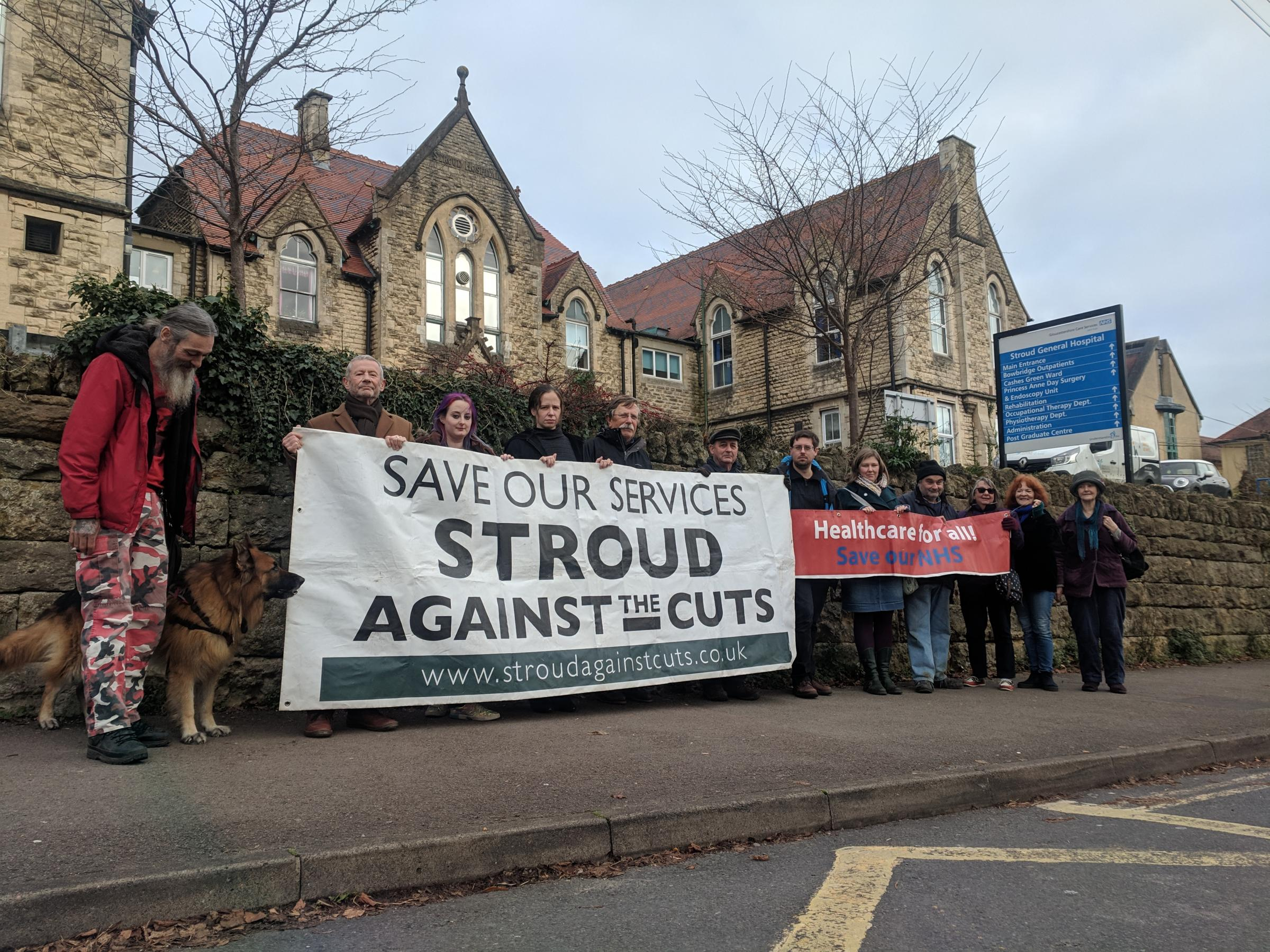 Members of Stroud Against the Cuts outside Stroud Hospital