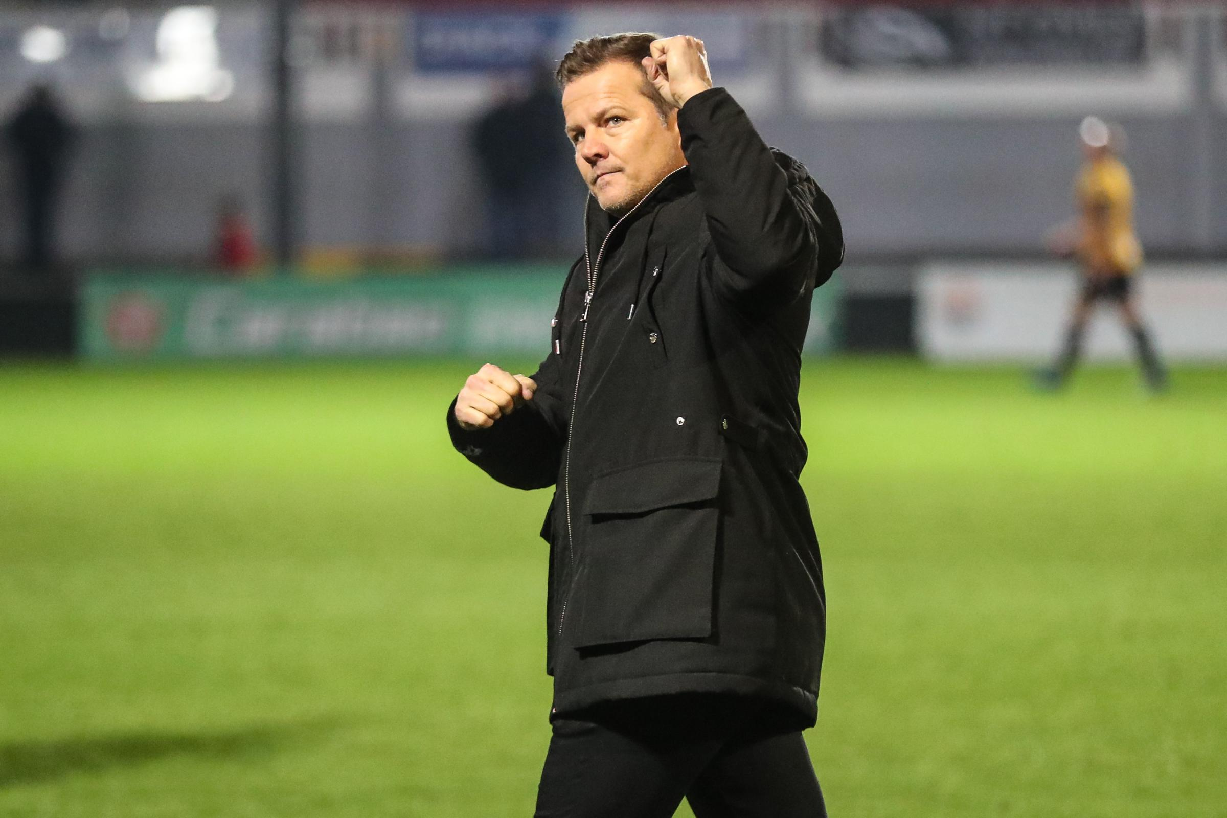 Forest Green Rovers manager, Mark Cooper at the end of the match during the EFL Sky Bet League 2 match between Newport County and Forest Green Rovers at Rodney Parade, Newport, Wales on 26 December 2018.
